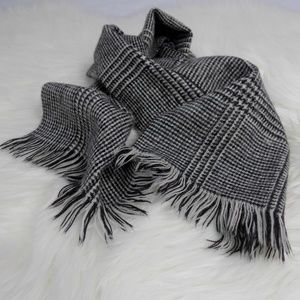 Vintage Houndstooth Plaid Neck Scarf Tie Wrap
